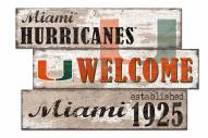 Miami Hurricanes Welcome 3 Plank Sign