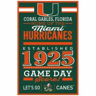 Miami Hurricanes Established Wood Sign