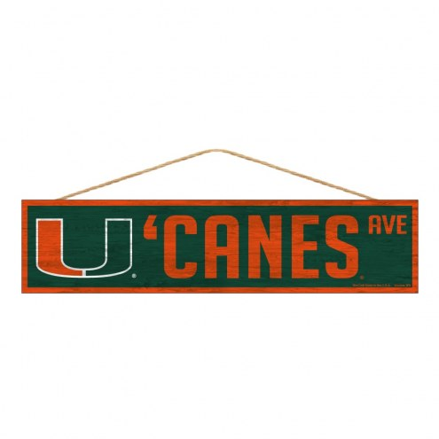 Miami Hurricanes Wood Avenue Sign