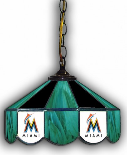 "Miami Marlins 14"" Glass Pub Lamp"