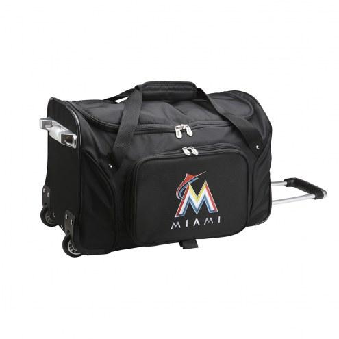 "Miami Marlins 22"" Rolling Duffle Bag"