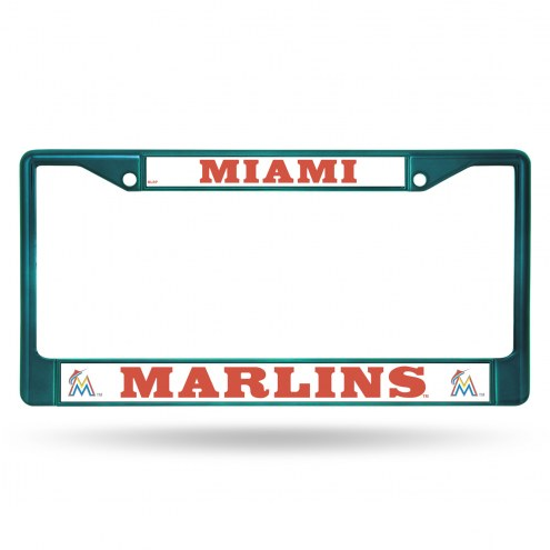 Miami Marlins Aqua Colored Chrome License Plate Frame