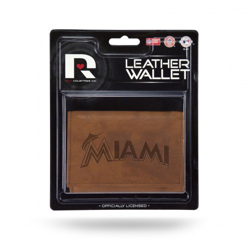 Miami Marlins Brown Leather Trifold Wallet