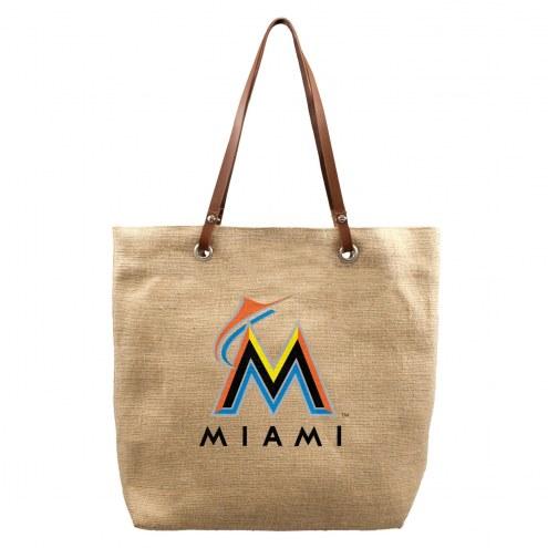 Miami Marlins Burlap Market Tote