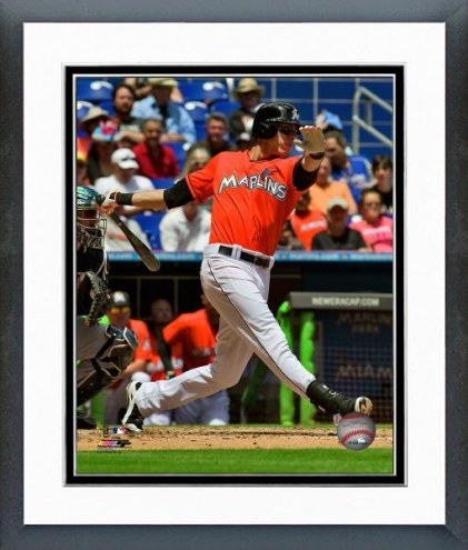Miami Marlins Christian Yelich Action Framed Photo