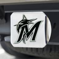 Miami Marlins Chrome Metal Hitch Cover