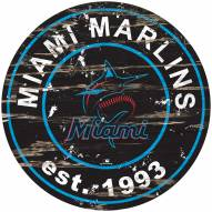 Miami Marlins Distressed Round Sign