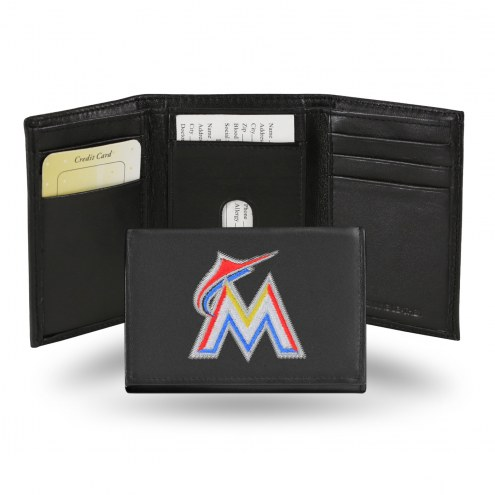 Miami Marlins Embroidered Leather Tri-Fold Wallet