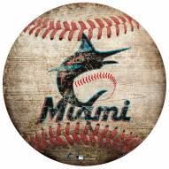 Miami Marlins Baseball Shaped Sign