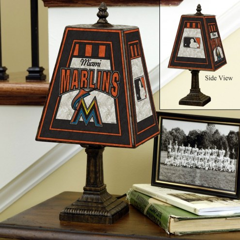 Miami Marlins Hand-Painted Art Glass Table Lamp