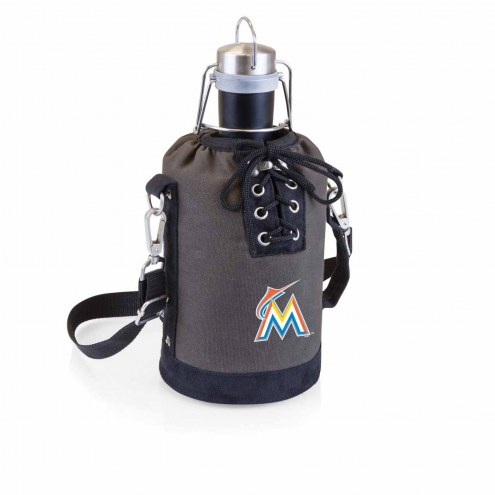 Miami Marlins Insulated Growler Tote with 64 oz. Stainless Steel Growler
