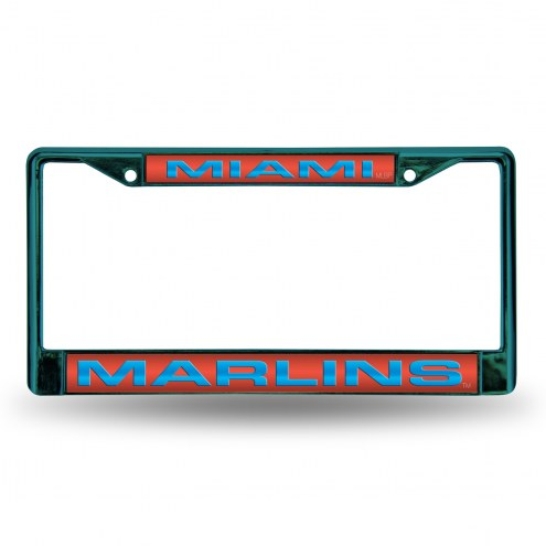 Miami Marlins Laser Colored Chrome License Plate Frame