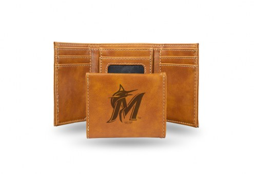 Miami Marlins Laser Engraved Brown Trifold Wallet