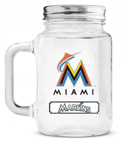 Miami Marlins Mason Glass Jar