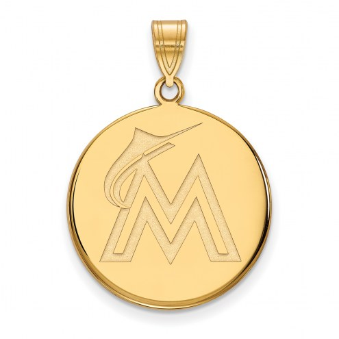 Miami Marlins MLB Sterling Silver Gold Plated Large Disc Pendant