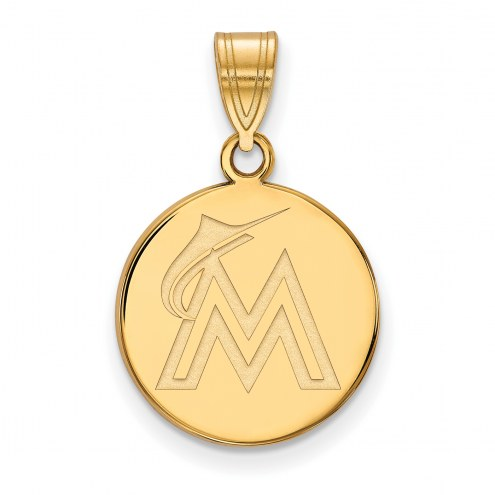 Miami Marlins MLB Sterling Silver Gold Plated Medium Disc Pendant