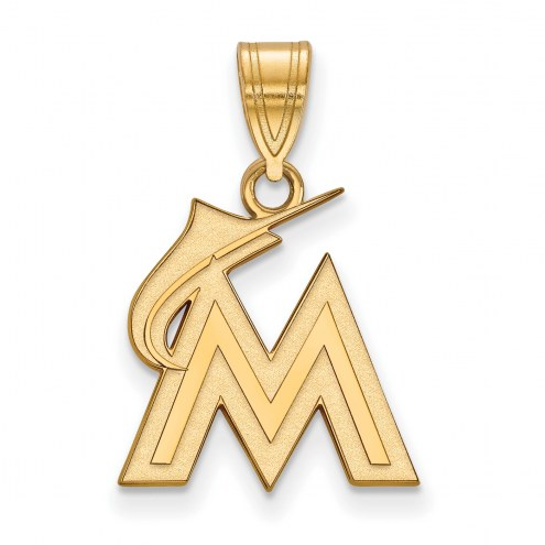 Miami Marlins MLB Sterling Silver Gold Plated Medium Pendant