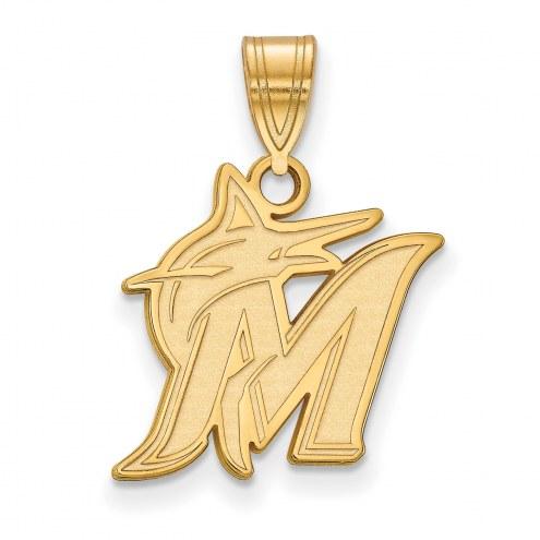 Miami Marlins MLB Sterling Silver Gold Plated Medium Pendant