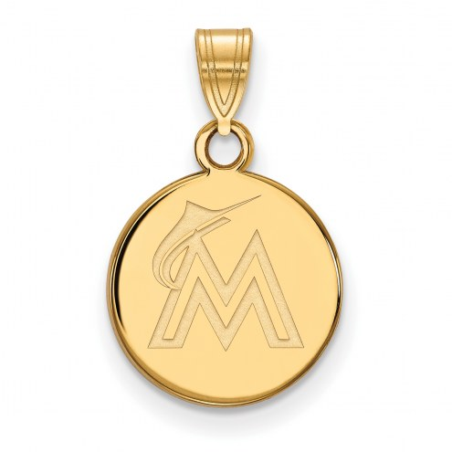 Miami Marlins MLB Sterling Silver Gold Plated Small Disc Pendant