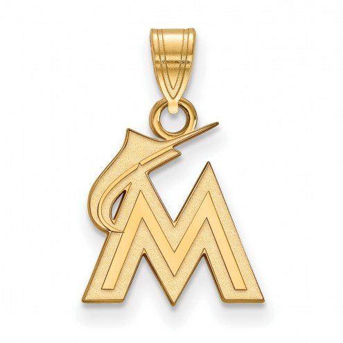 Miami Marlins MLB Sterling Silver Gold Plated Small Pendant