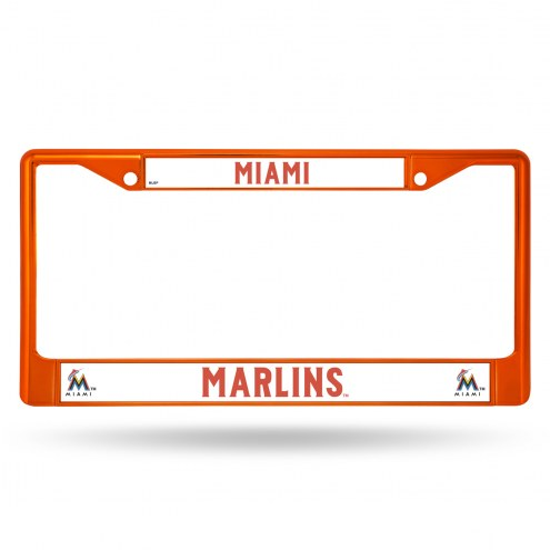 Miami Marlins Orange Colored Chrome License Plate Frame