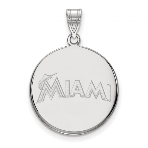 Miami Marlins Sterling Silver Large Disc Pendant
