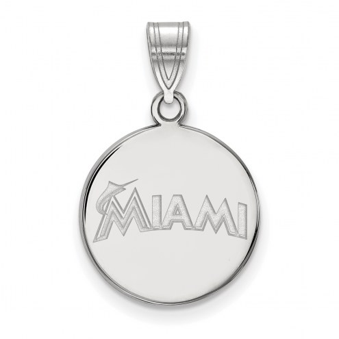 Miami Marlins Sterling Silver Medium Disc Pendant
