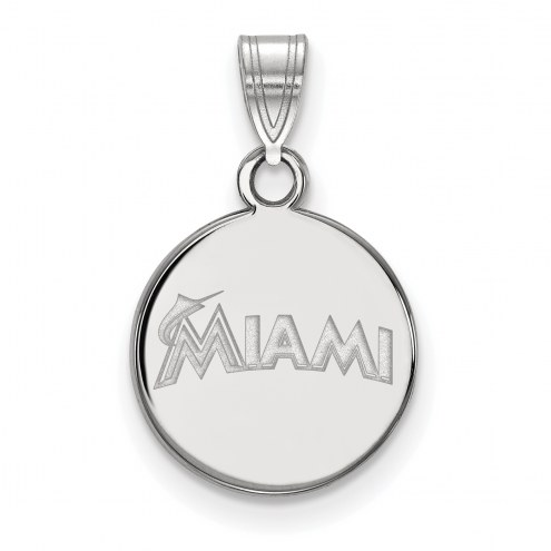 Miami Marlins Sterling Silver Small Disc Pendant