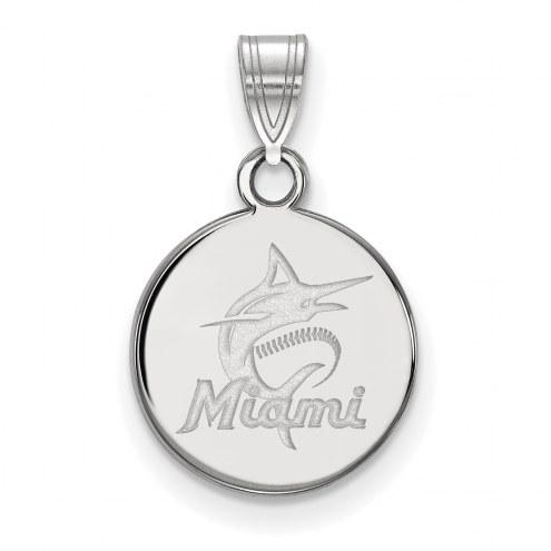 Miami Marlins Sterling Silver Small Disc Pendant