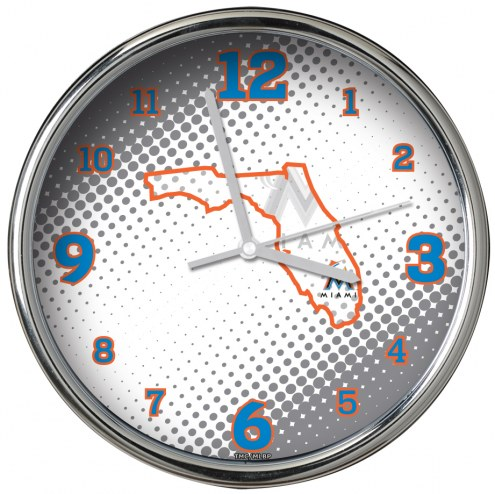 Miami Marlins State of Mind Chrome Clock