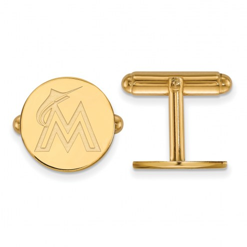 Miami Marlins Sterling Silver Gold Plated Cuff Links