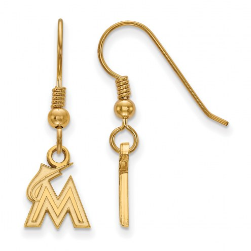 Miami Marlins Sterling Silver Gold Plated Extra Small Dangle Earrings