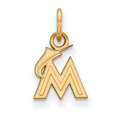 Miami Marlins Sterling Silver Gold Plated Extra Small Pendant