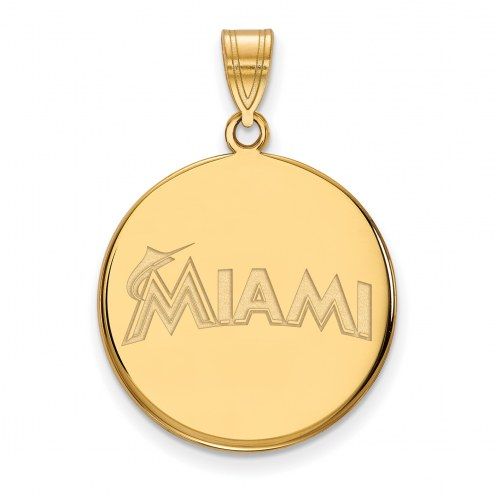 Miami Marlins Sterling Silver Gold Plated Large Disc Pendant