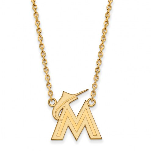 Miami Marlins Sterling Silver Gold Plated Large Pendant Necklace