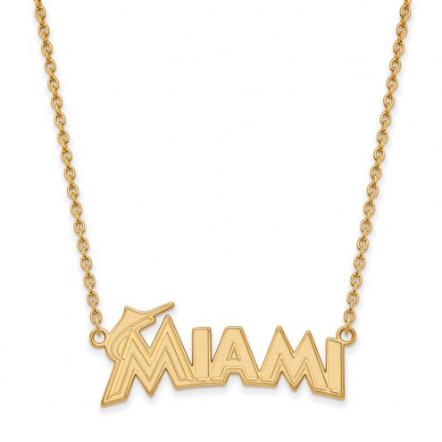 Miami Marlins Sterling Silver Gold Plated Large Pendant with Necklace
