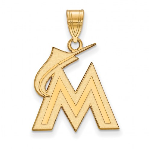 Miami Marlins Sterling Silver Gold Plated Large Pendant