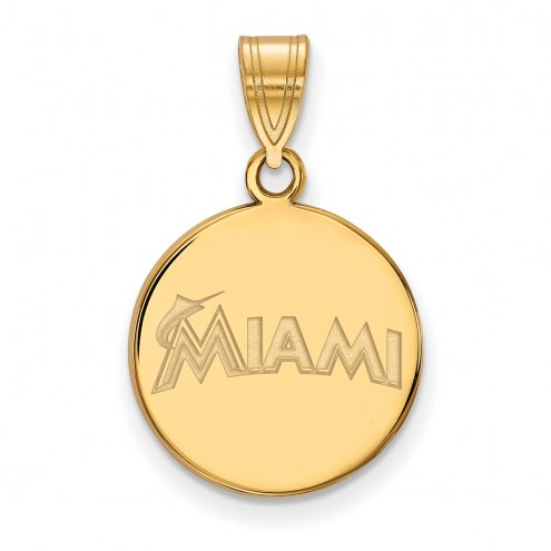 Miami Marlins Sterling Silver Gold Plated Medium Disc Pendant