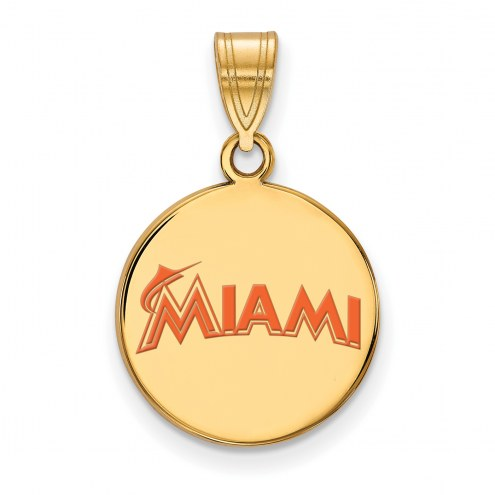Miami Marlins Sterling Silver Gold Plated Medium Enameled Disc Pendant