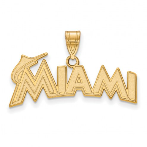 Miami Marlins Sterling Silver Gold Plated Medium Pendant
