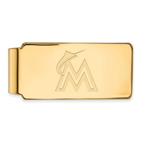 Miami Marlins Sterling Silver Gold Plated Money Clip