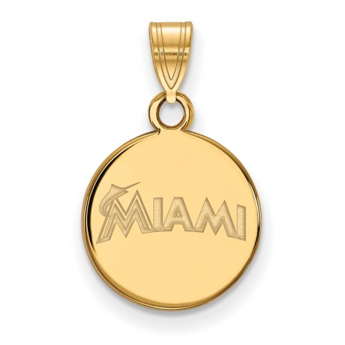 Miami Marlins Sterling Silver Gold Plated Small Disc Pendant