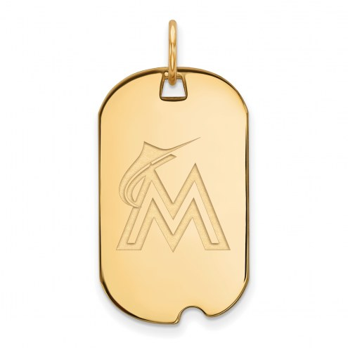 Miami Marlins Sterling Silver Gold Plated Small Dog Tag