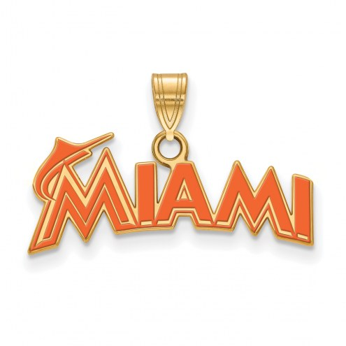 Miami Marlins Sterling Silver Gold Plated Small Enameled Pendant