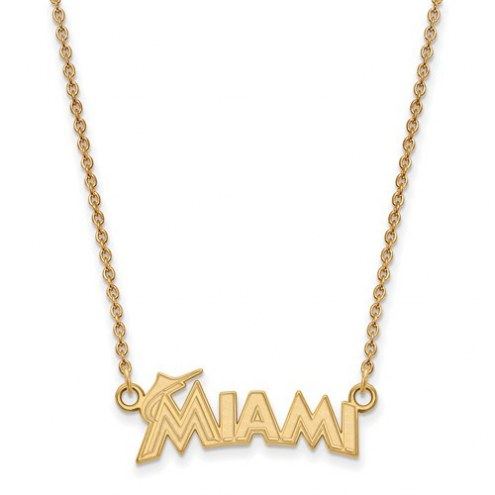 Miami Marlins Sterling Silver Gold Plated Small Pendant with Necklace
