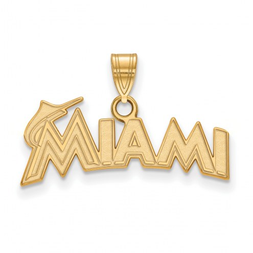 Miami Marlins Sterling Silver Gold Plated Small Pendant