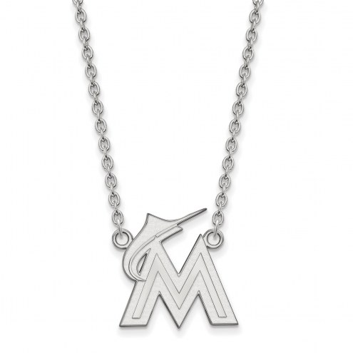 Miami Marlins Sterling Silver Large Pendant Necklace