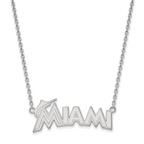 Miami Marlins Sterling Silver Large Pendant with Necklace