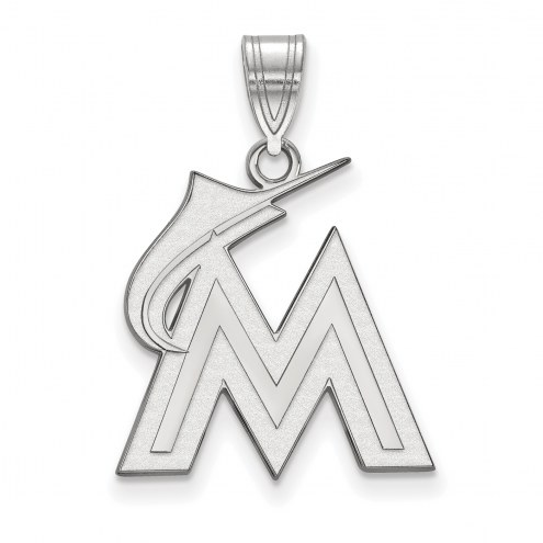 Miami Marlins Sterling Silver Large Pendant