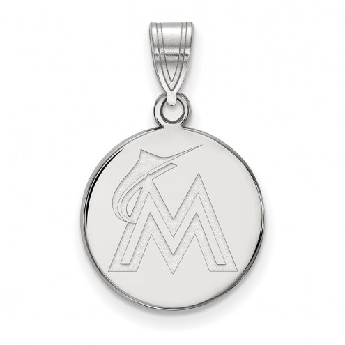 Miami Marlins Sterling Silver Medium Disc Pendant